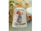 Candle with an angel print in blue