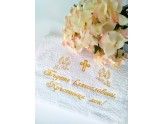 Embroidered towel for Godparents with blessing